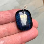 Blue Galaxy Heart Pendant by Janet Crosby