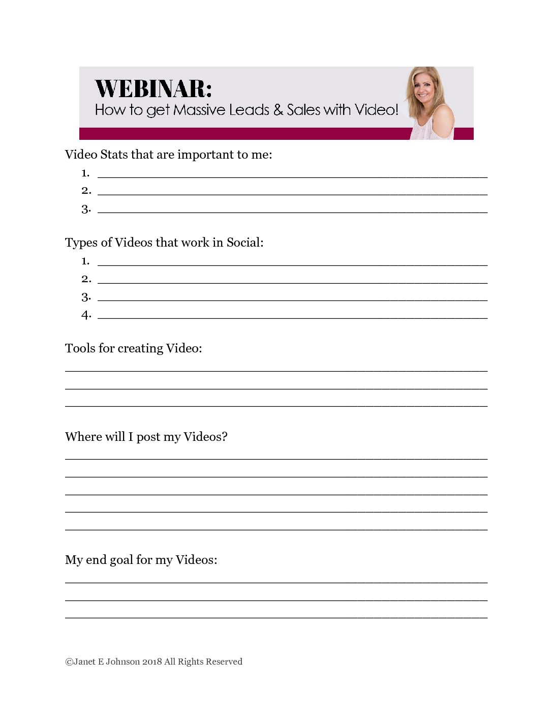 Facebook Video Webinar Worksheet