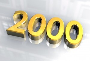 the year 2000 numbers in gold