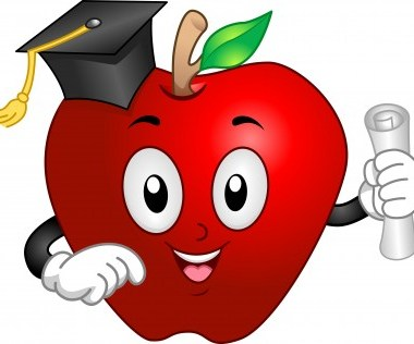 a cartoon apple with a graduation hat and holding a diploma
