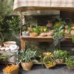 medieval market stall selling fruit