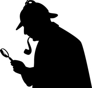 a silouette of Sherlock Holmes smothing his pipe with a magnifying glass.