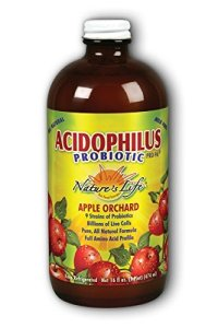 A bottle of Nature Life's Apple Flavored liquid acidophilus