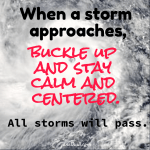 a meme with a hurricane picture that all storms will pass.