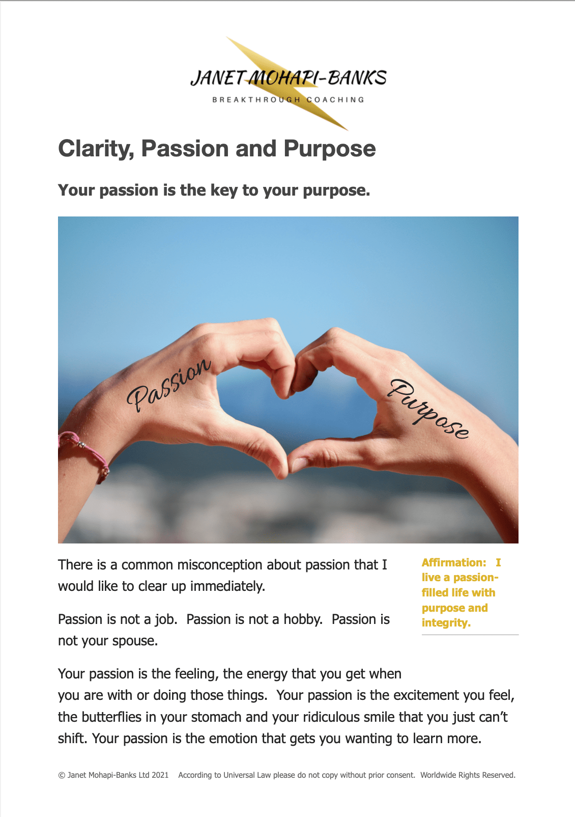 Clarity, Passion, and Purpose