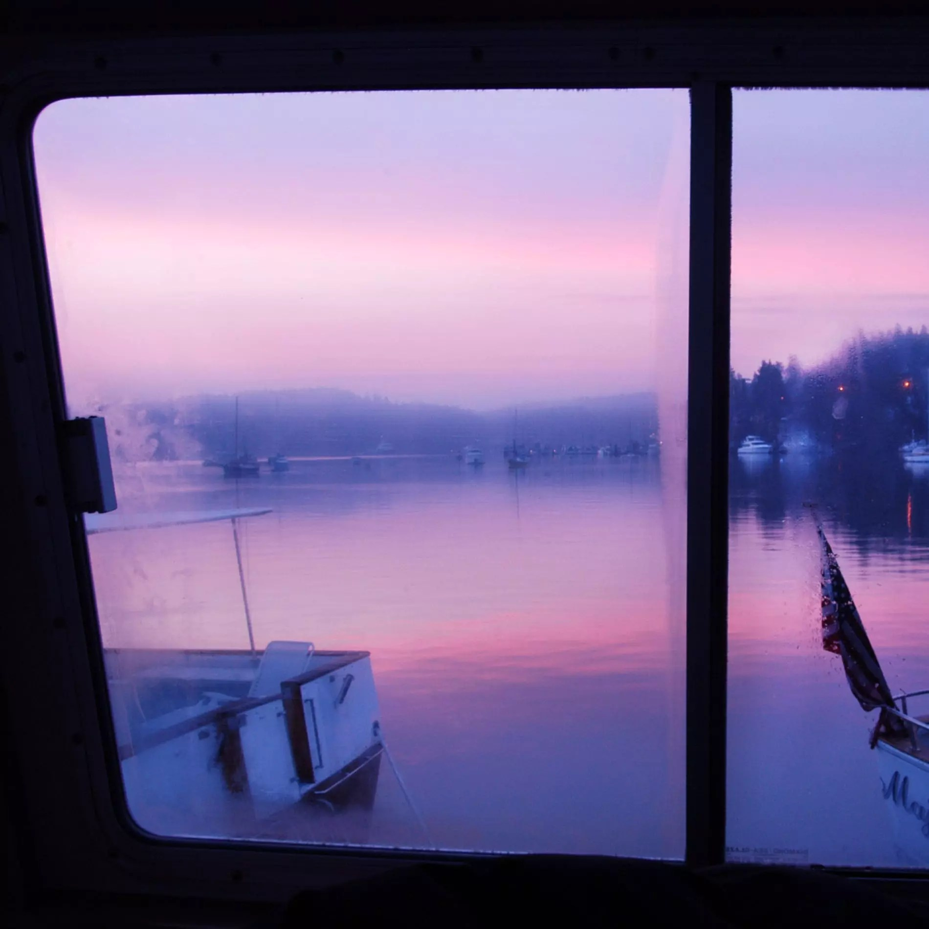 Sunrise from the Elysian at anchor.