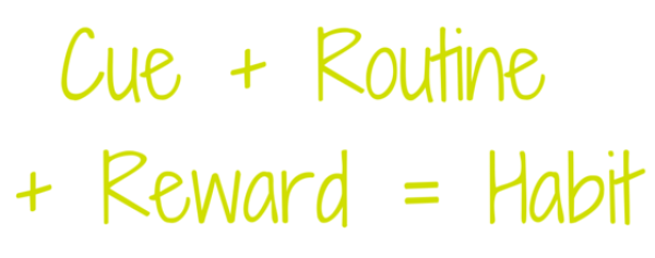 Cue + Routine + Reward = Habit