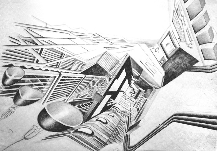 experimental architecture pencial drawing 1