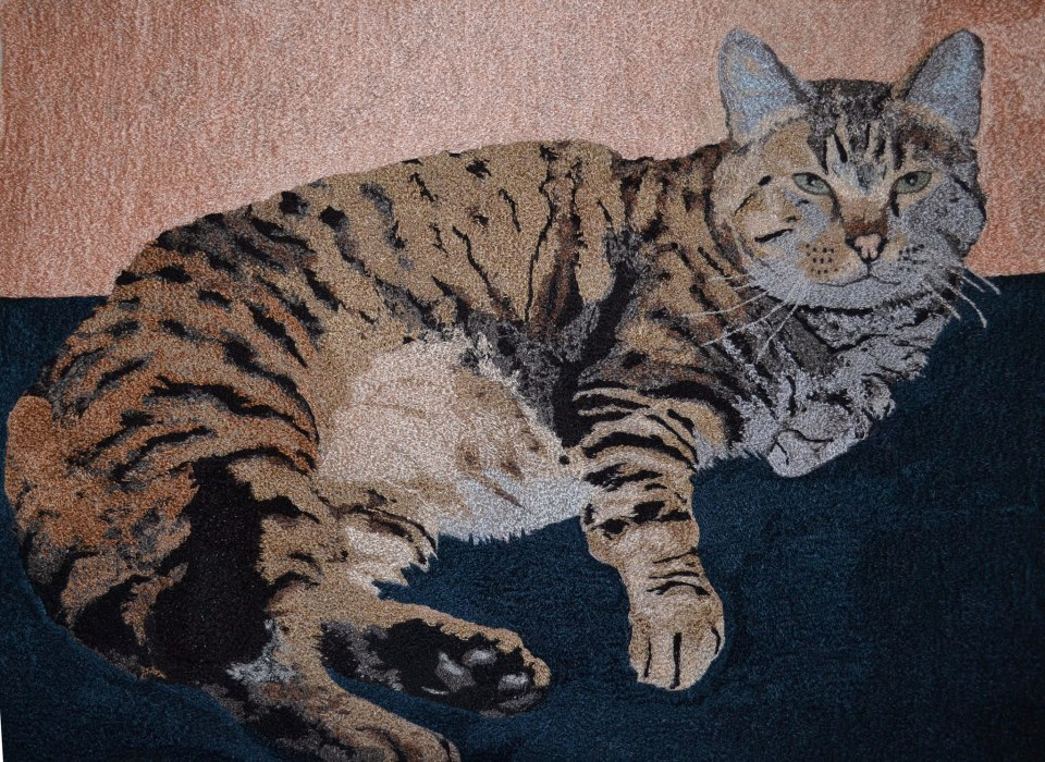 Jan Holzbauer, thread painting of Bruiser, the cat