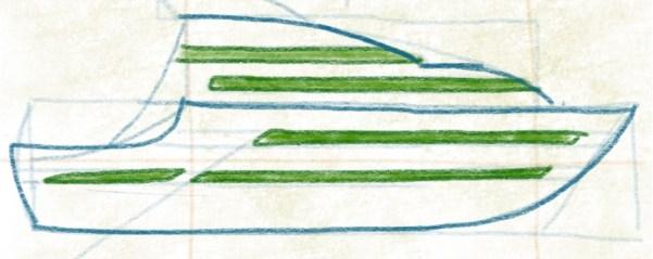 Luxusyacht zeichnen - Deck und Hecklinie