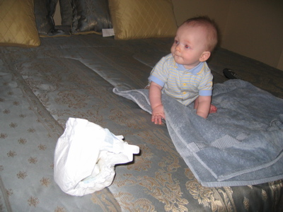 Josh changes his first diaper