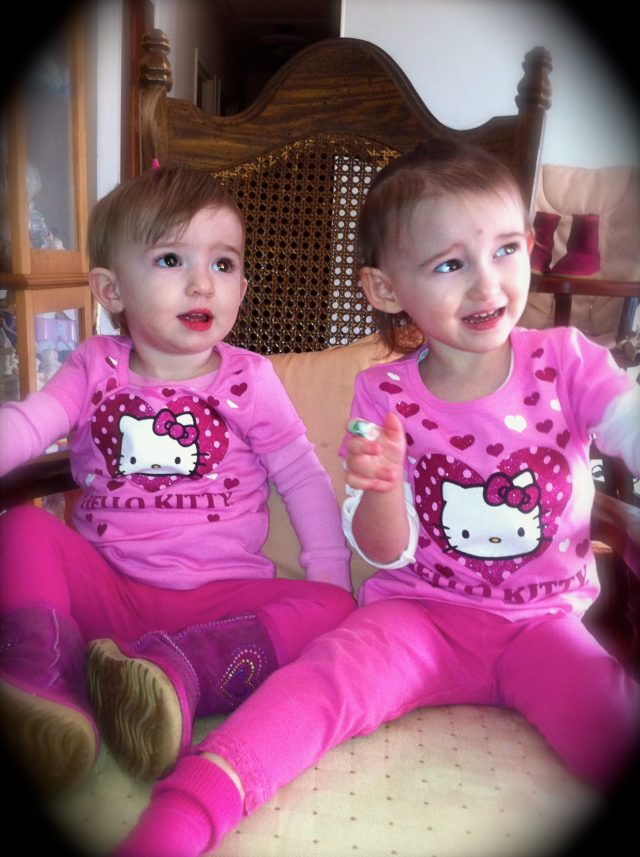 Wearing their Best Hello Kitty--Valentine's Day 2012
