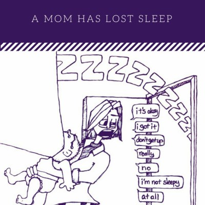 The Top 5 Ways A Mom Has Lost Sleep - Crying Vomiting Baby Cartoon by Chris Desatoff from I Work Off The Clock!!