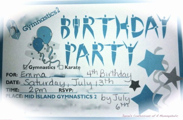 The Cheesy Invite That Was Supplied for Free for Emma's Gymnastics Party!