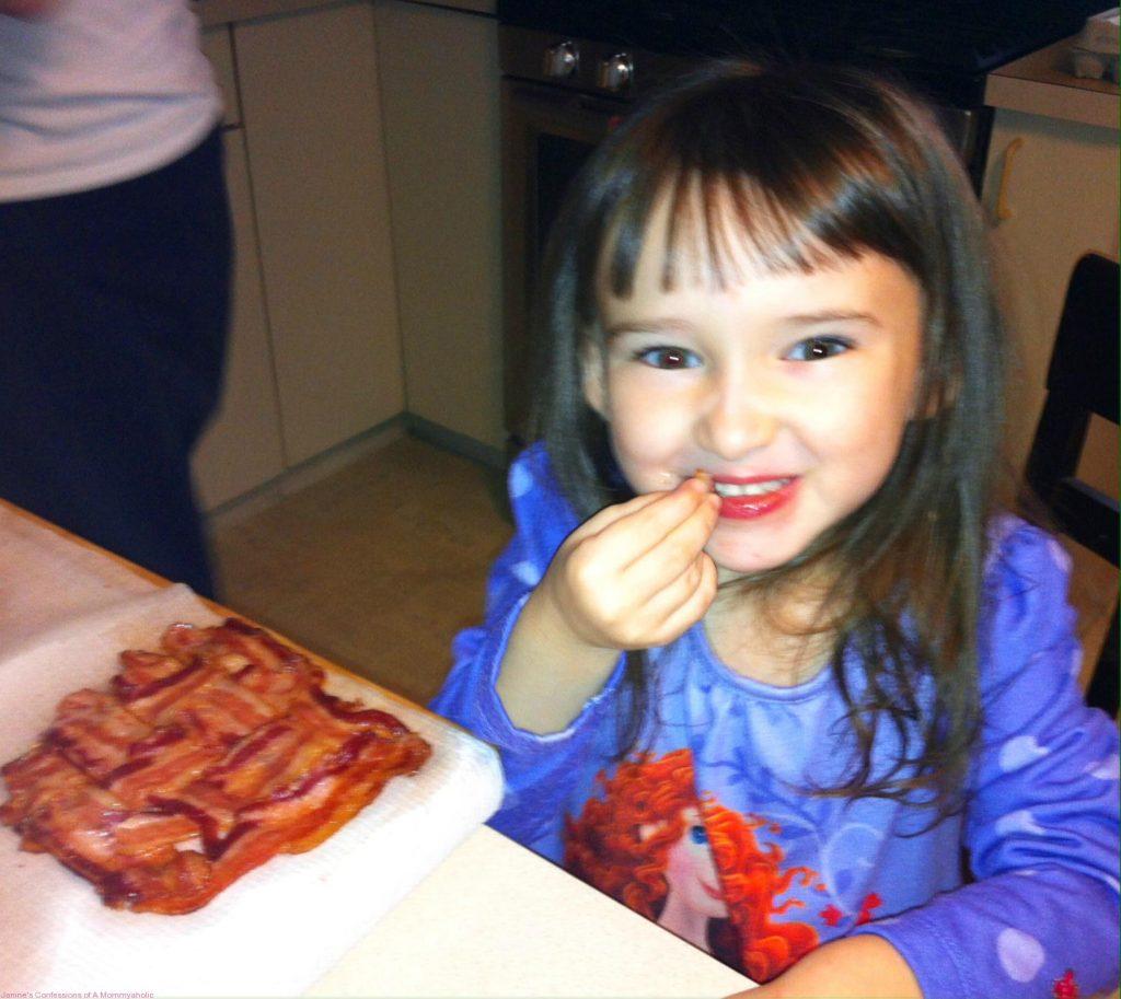 Emma Eating Bacon Lattice