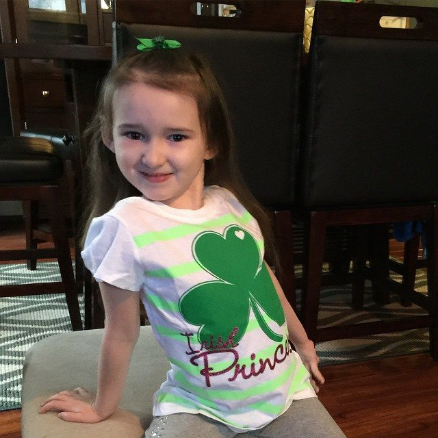 My Irish princess this morning posing for me before school. Happy #stpatricksday