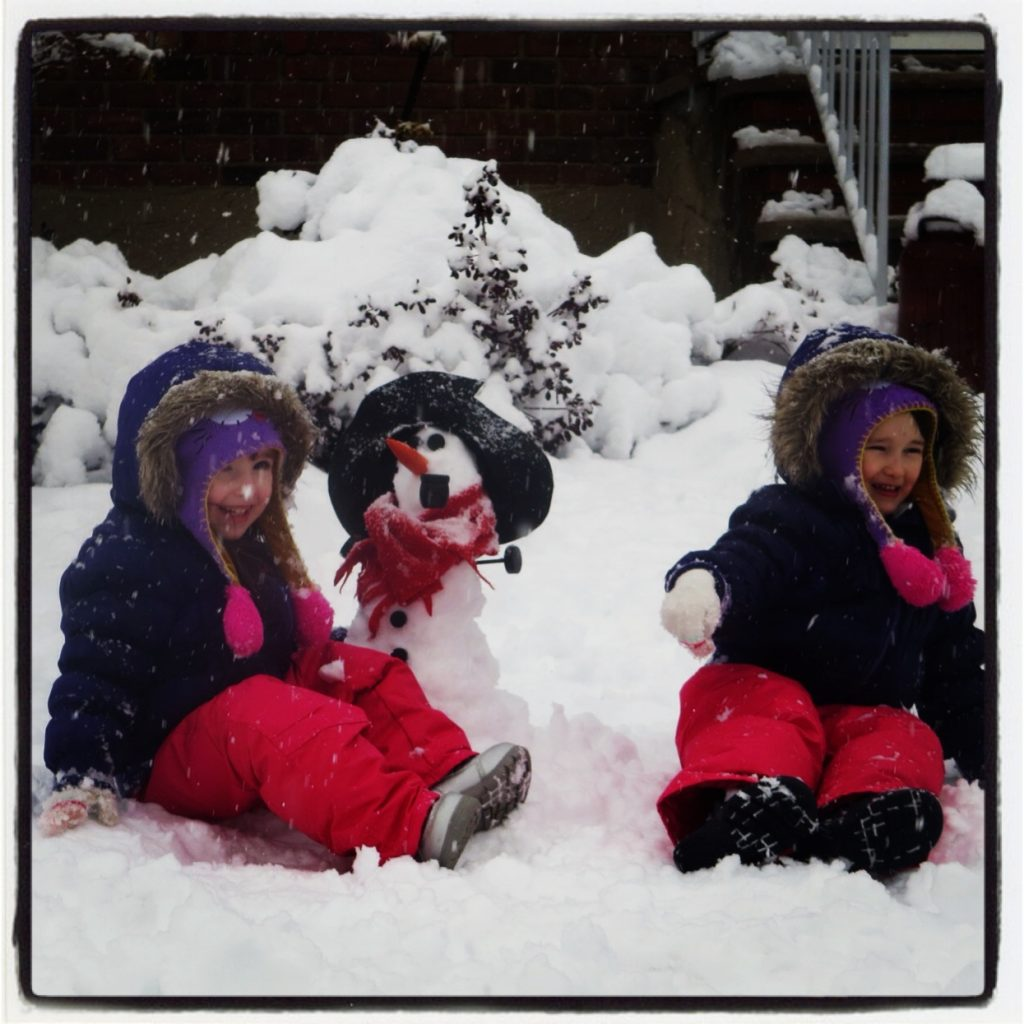 Emma & Lily with Their Version of Olaf the Snowman!