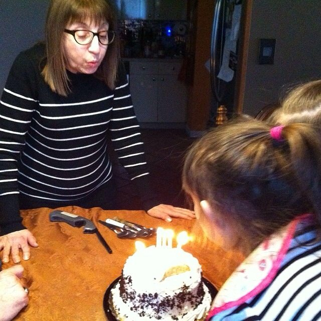 Mom Blowing Out the Candles on Her Birthday Cake!