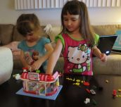 Emma and Lily Putting the Cafe Together