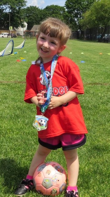 Lily - End of Spring Soccer with Her Medal