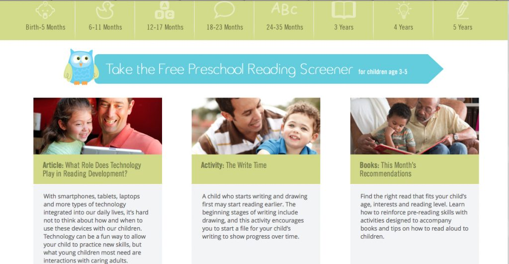 Pre-School Reading Screener Located in the Middle of the Homepage