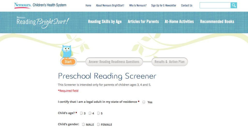 PreSchool Reading Screener