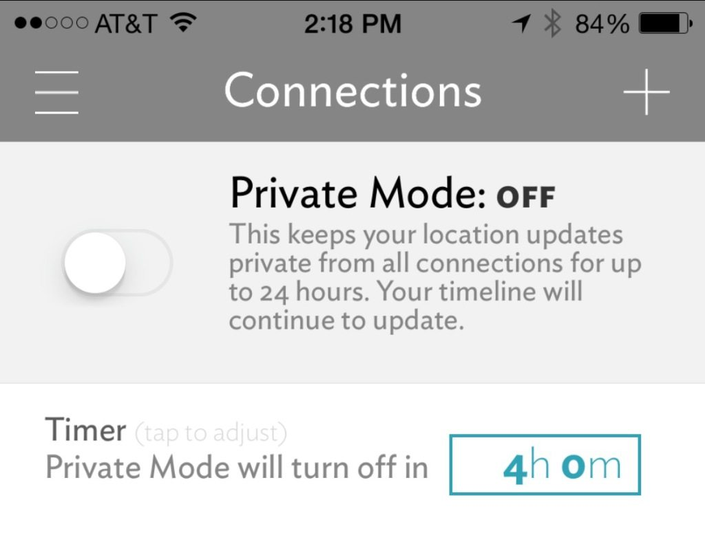 PlaceUs Privacy Mode
