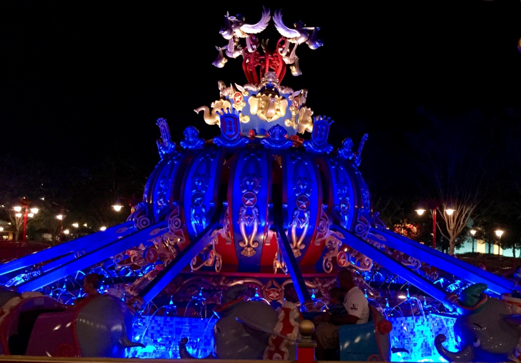 Dumbo lit up at night