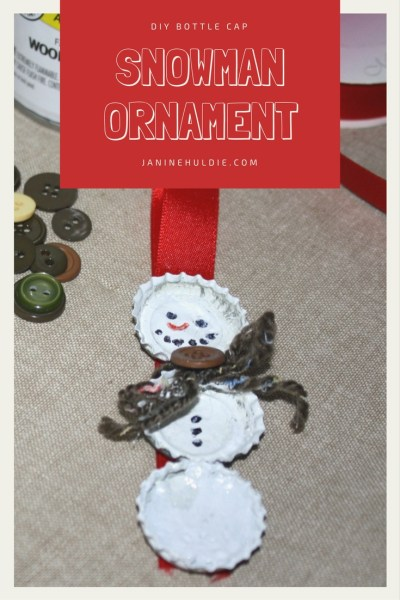 DIY Bottle Cap Snowman Ornament