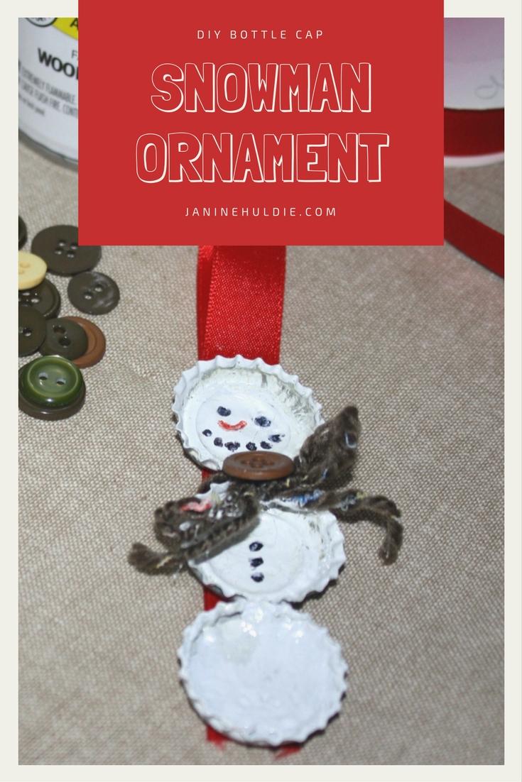 DIY Bottle Cap Snowman Ornament