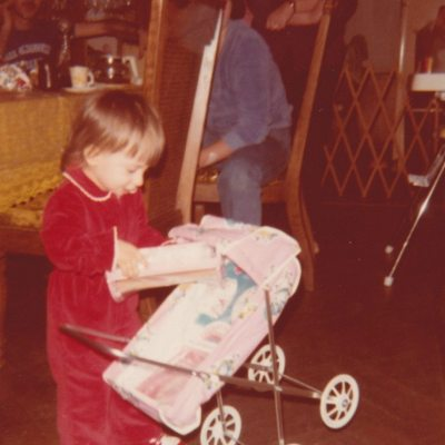 Me at almost 2 years old with Doll Carriage