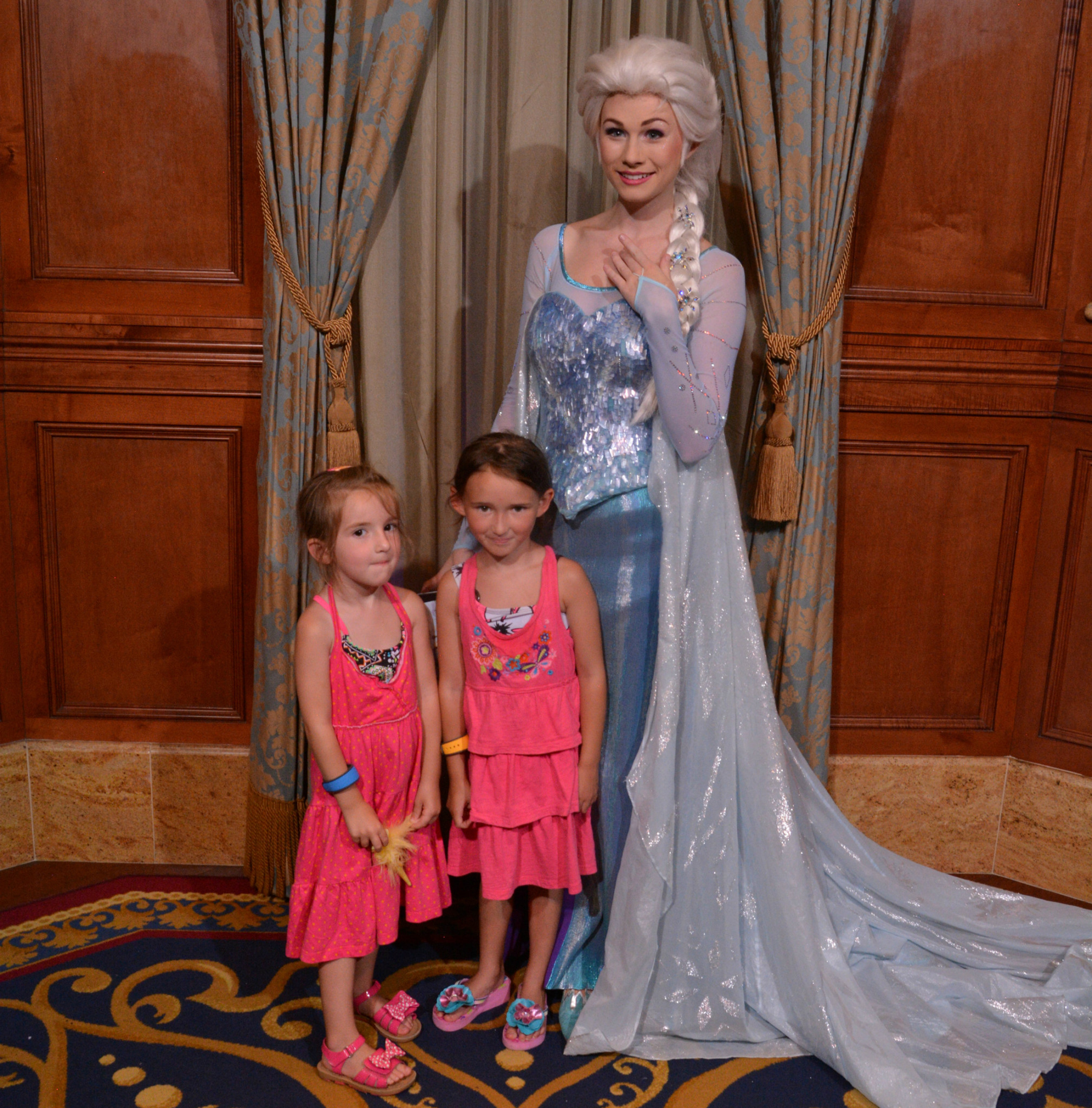 The Girls with Elsa at Magic Kingdom