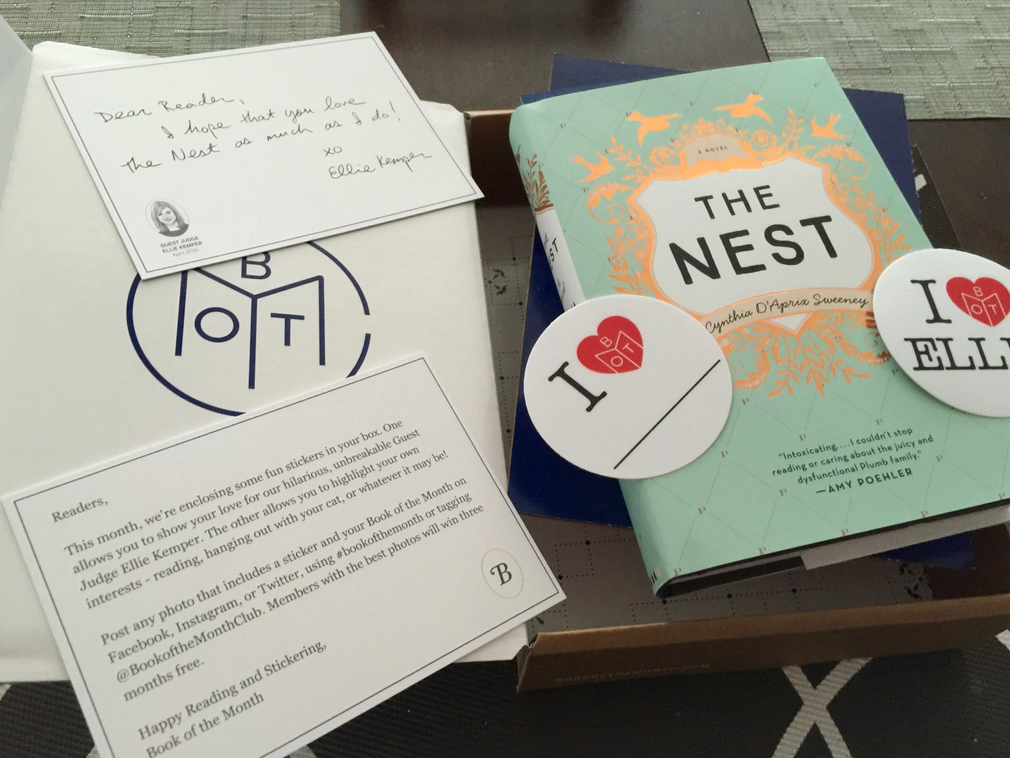April's Book of the Month with Ellie's Kemper's Choice The Nest