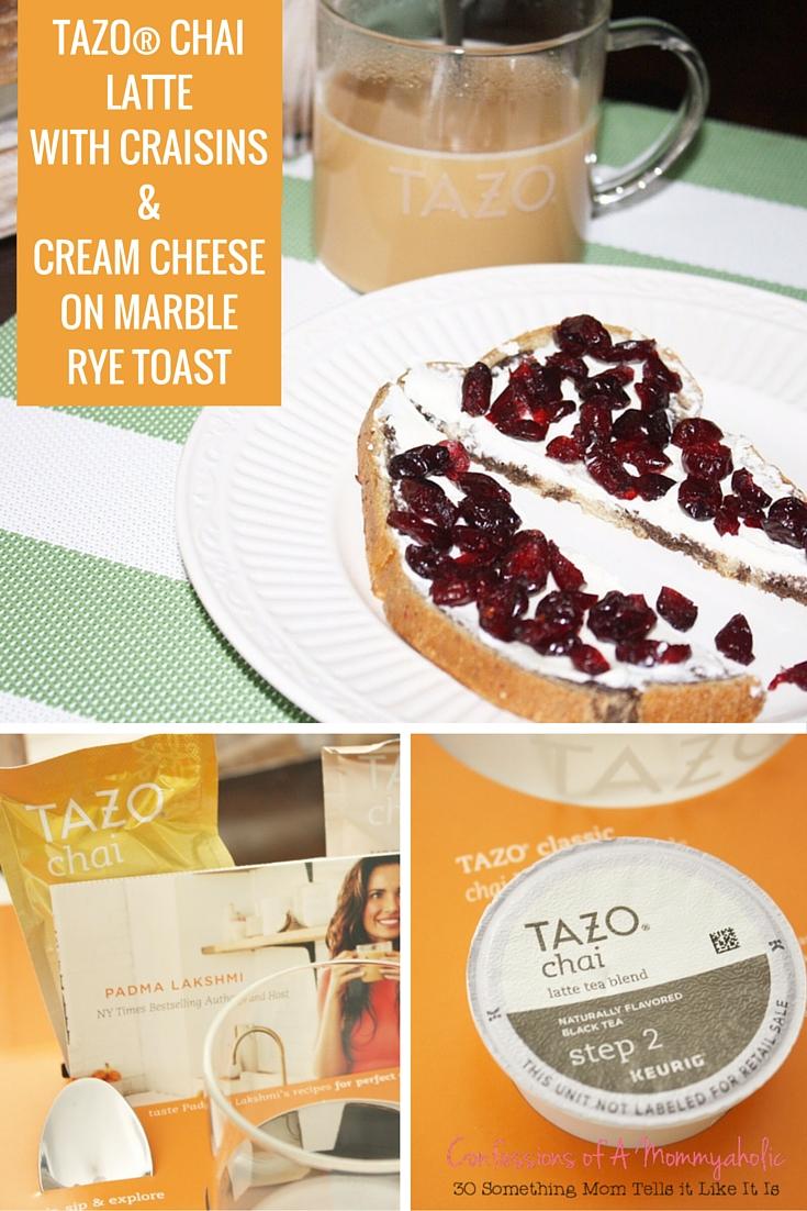 TAZO® CHAI LATTE WITH CRAISINS & CREAM CHEESE ON MARBLE RYE TOAST