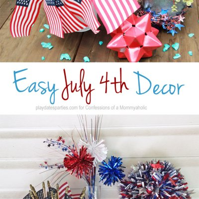 Get ready for your July 4th celebration in minutes with 3 easy July 4th decorations: a sparkly pomander ball, an American Flag bouquet, and a fireworks vase.