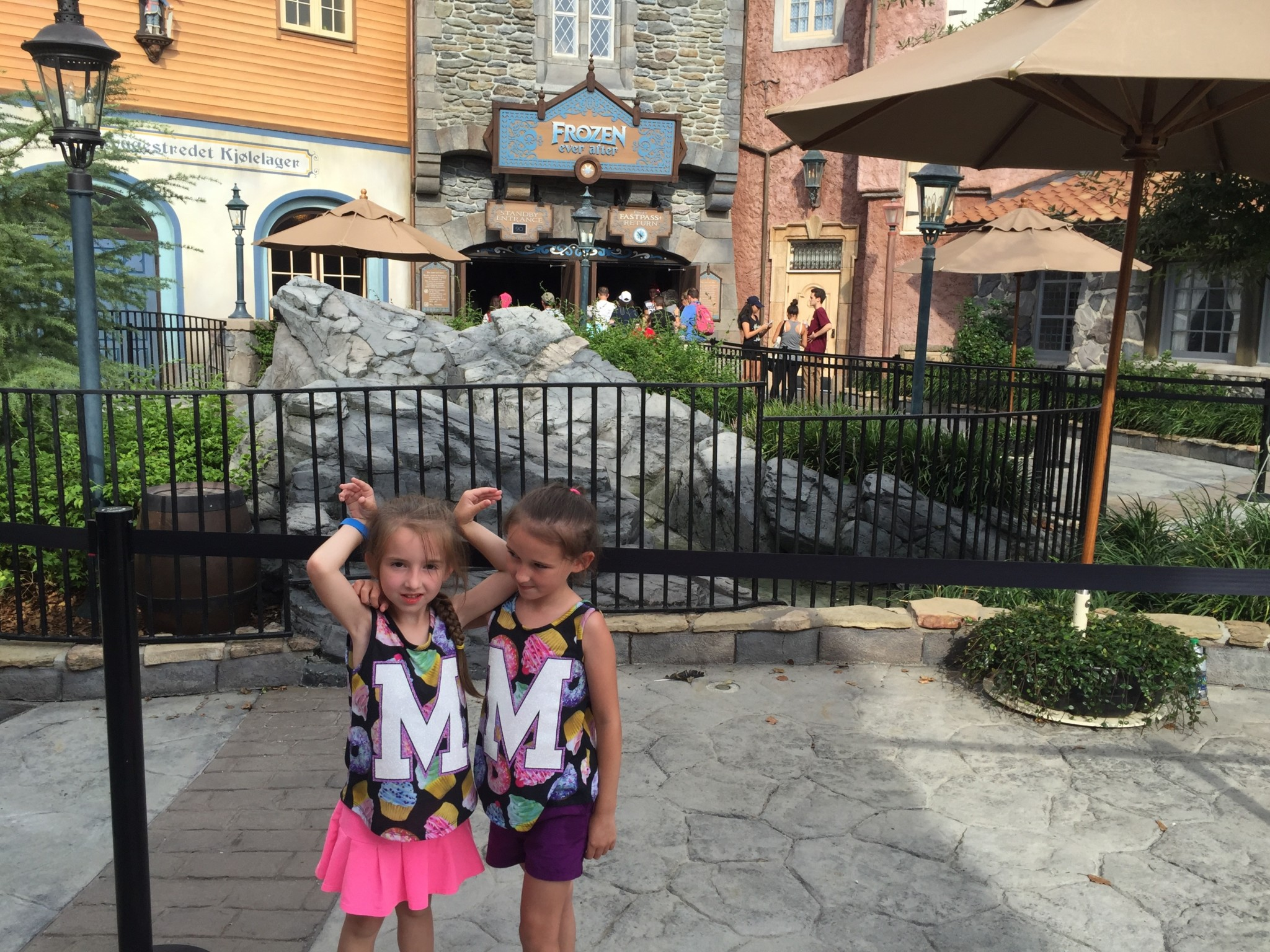 The Girls Outside of Disney Epcot's Frozen Ever After Ride
