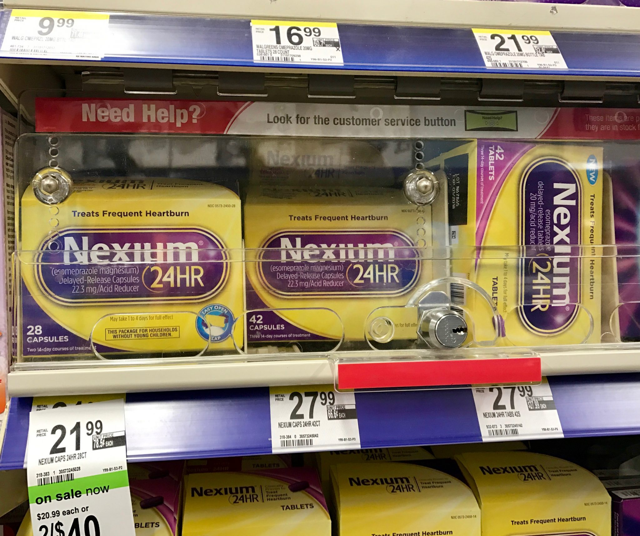 Closeup of the Shelf at Walgreens for Nexium Capsules