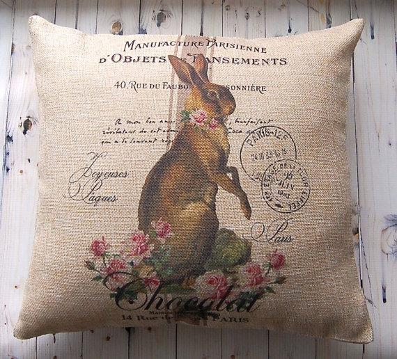 Easter Burlap Bunny Pillow