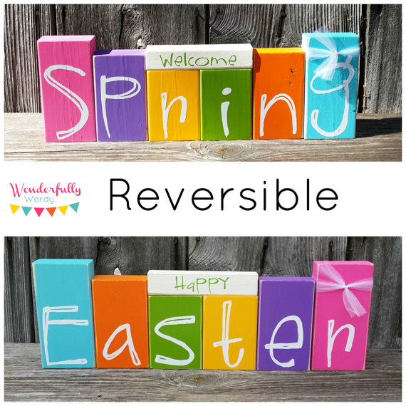 Reversible Easter and Spring Wooden Blocks