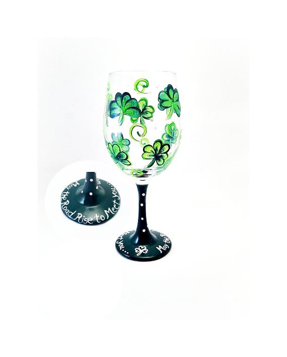St. Patricks Day Wine Glass