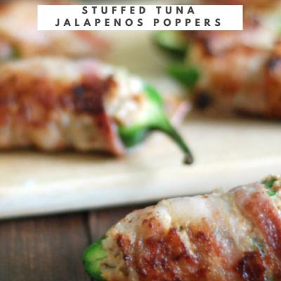 Bacon Wrapped Stuffed Tuna Jalapeños Poppers