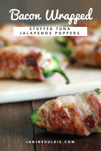 Bacon Wrapped Stuffed Tuna Jalapeños Poppers