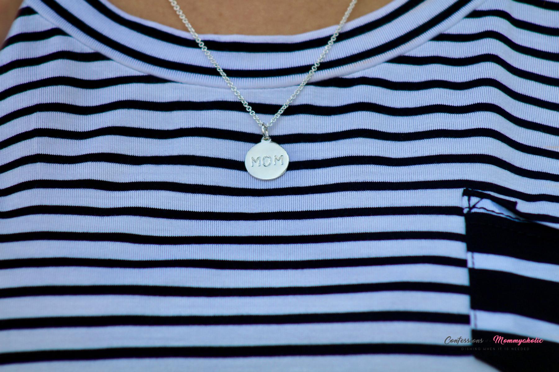 Helen Ficalora Mom Necklace Worn