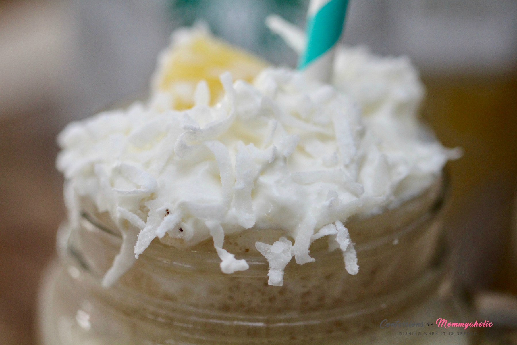 Starbucks Pina Colada Iced Coffee Extreme Closeup