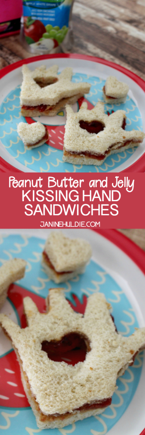 Peanut Butter and Jelly Kissing Hand Sandwiches