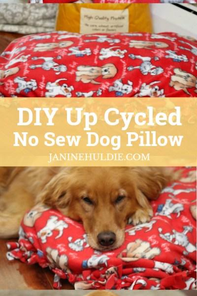 DIY Up Cycled No Sew Dog Pillow Long Pin