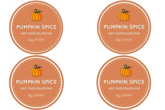PUMPKIN SPICE Hot Chocolate Mix Labels