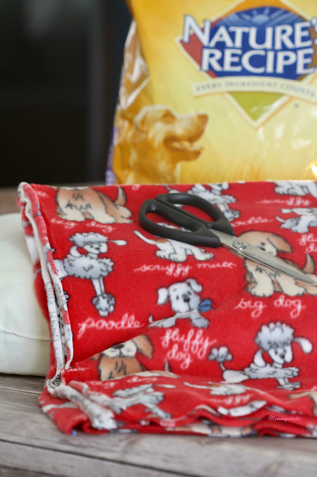Supplies for DIY Up Cycled No Sew Dog Pillow