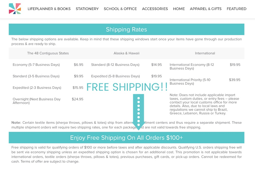Free Shipping at Erin Condren for Orders over 100