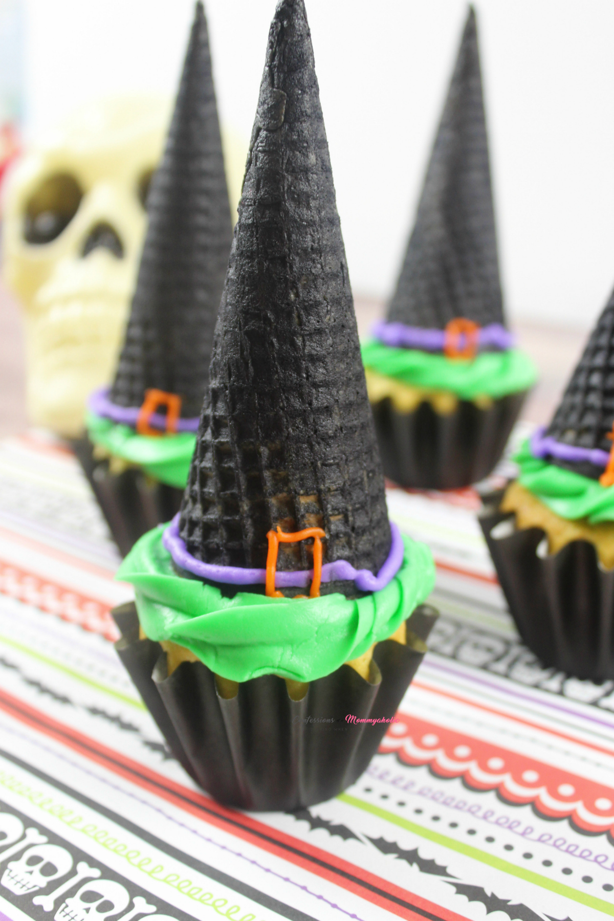 Halloween Witches Cupcakes Recipe Vertical Closeup